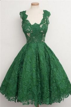 Vintage Scoop Homecoming Dress,Green Lace Homecoming Dress,Knee-Length Homecoming Dresses#lacedress #homecomingdresses #homecoming #short #shortdress #shortpromdress #promotion #prom #fashion #fashionstyle