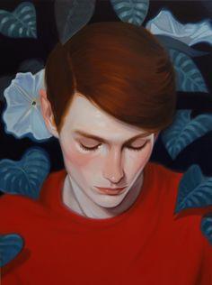 Guy; Red hair; Foliage; Red jacket; Art; Парень; Рыжие волосы; Листва; Красная кофта; Арт