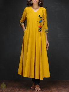 Yellow Handloom Cotton Angrakha by Jaypore Kurta Patterns, Dress Patterns, Kurta Designs Women, Blouse Designs, Salwar Designs, Indian Attire, Indian Wear, Indian Dresses, Indian Outfits