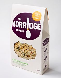 Norridge breakfast food packaging designed by Swear Words for Food Actually.