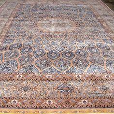 10x14 foot (305x427cm) Hand Knotted Silk Carpet in stock | harry@camelcarpet.com  #handmade #handmadesilkcarpet #persianrugs #persiancarpet #iraniancarpet