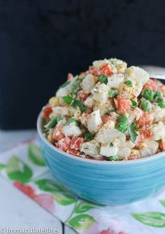 Caribbean Potato Salad-Creamy, flavorful Nutritious and Chockfull of Vegetables. A must have for your summer party.