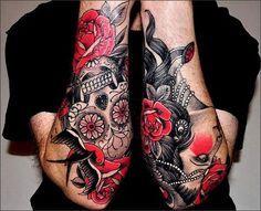 superbe-tatouage-roses-et-tête-de-mort-mexicaine-sur-les-bras.jpg (610×495)