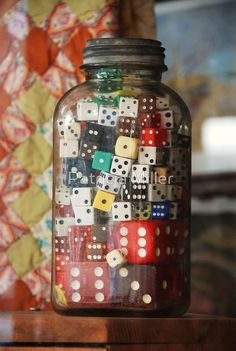 Dice Jar just a really cute idea DecoratingaGameRoomhome is part of Game room - Bottles And Jars, Glass Jars, Mason Jars, Vintage Games, Vintage Decor, Game Room Decor, Displaying Collections, Board Games, Board Game Bar
