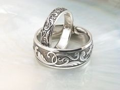 handmade Victorian scroll wedding rings by Ravens' Refuge, via Flickr