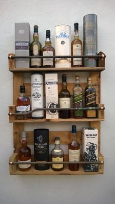 Whisky  Rack Shelf, Upcycled Pallet / Crate Handmade Vintage Shabby Chic Kitchen