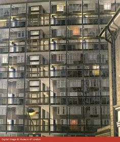 'Camberwell Nocturne' by David Hepher, b 1935, featuring Habington House, a block on Camberwell's Elmington Estate.