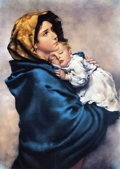 """One of the most beloved images of Our Lady, """"Madonna of the Streets"""" depicts a youthful Mary holding the Child Jesus close to her heart. This hangs in our hallway Madonna Und Kind, Madonna And Child, Lady Madonna, Religious Images, Religious Art, La Madone, Queen Of Heaven, Sainte Marie, Blessed Mother Mary"""