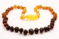 Genuine Raw Baltic Amber Baby Teething Necklace Rainbow color baroque beads authentic on Etsy, $6.49