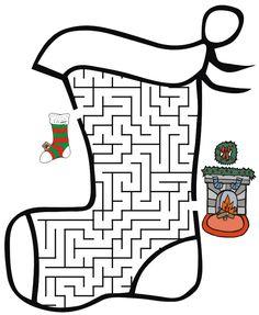 childrens puzzles, mazes games | Stocking Christmas Maze - Free Printable Christmas Maze