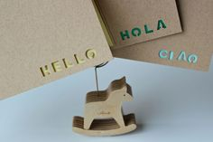word cut out art...mudroom art possibility.  (Hello stencil note cards - Set of 3 - Hello Hola Ciao. $8.60, via Etsy.)