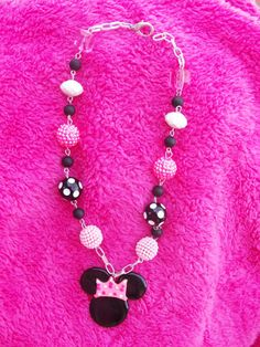 princess minnie mouse beaded necklace by crystalnruby on Etsy, $15.00