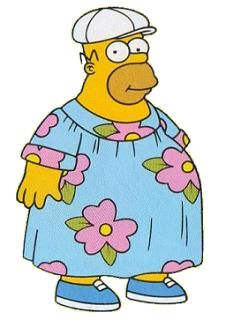 Homer in a muumuu Simpsons Tattoo, Simpsons Drawings, Simpsons Art, Cartoon Memes, Cartoon Shows, Cartoon Pics, Simpson Wallpaper Iphone, Disney Wallpaper, Simpsons Characters