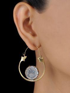Classic Coin Dual Tone Brass Earrings