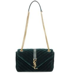 SAINT LAURENT Classic Monogram Quilted Velvet Shoulder Bag. #saintlaurent #bags #shoulder bags #leather #velvet #lining #