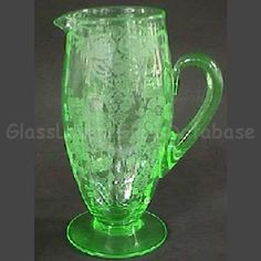 APPLE BLOSSOM Etch No. 744 on Line No. 3130/1205 Light Green Pitcher by Cambridge