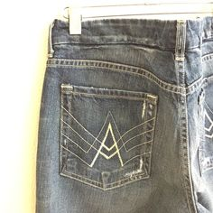 """'A' Pocket Bootcut Jeans by 7 [seven] Destructed, medium blue 'A' Pocket jeans never worn and in like-new condition! Have had a reattached hem alteration done to be a 30"""" inseam and have been washed. 10"""" leg opening [98% cotton/2% spandex] 7 for all Mankind Jeans Boot Cut"""