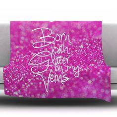"East Urban Home Born With Glitter by Beth Engel Fleece Throw Blanket Size: 90"" x 90"""