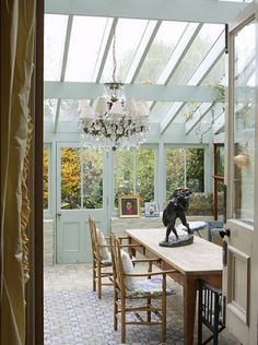 Crystal Chandelier In A Conservatory