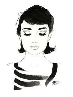 Watercolor Fashion Illustration Audrey