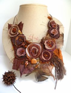 Fall beauty IV, fiber art necklace featured In Autumn 2011 Belle Armoire Jewelry Magazine