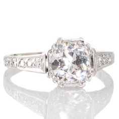 Original Art Deco diamond and platinum engagement ring. View our collection of antique, Art Deco, and modern jewellery at www.rutherford.com.au