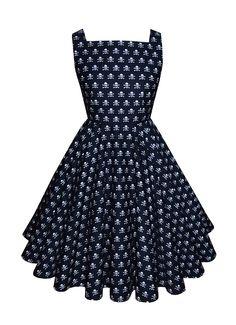 Full circle 'Patsy' in mini skulls black. 1950s vintage style square neck dress.