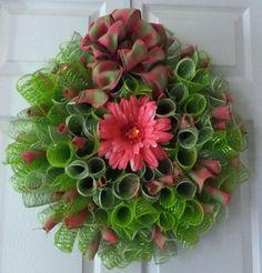 Spring Wreath Deco Mesh Fresh Green by PJCreativeWreaths on Etsy, $45.00