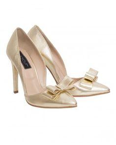 Pantofi din piele naturala aurie cu fundita - Cindarella