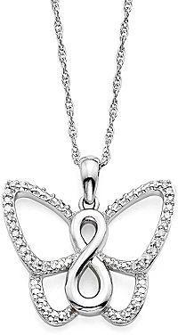 33035ba96 jcpenney FINE JEWELRY 1/10 CT. T.W. Diamond Sterling Silver Butterfly Infinity  Pendant Necklace on shopstyle.com