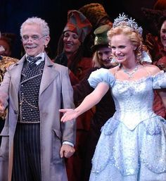 """Actors Joel Grey and Kristin Chenoweth take their October 2003 opening night curtain call bows at New York's Gershwin theatre after their performance in the Broadway musical """"Wicked"""" by composer Stephen Schwartz. Gregory Maguire, Stephen Schwartz, Joel Grey, Broadway Plays, Originals Cast, Curtain Call, Wizard Of Oz, Musical Theatre, Musicals"""