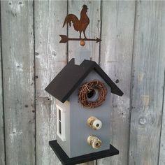 Primitive Birdhouse Weather Vane Rooster by DoorCountyWoodworks