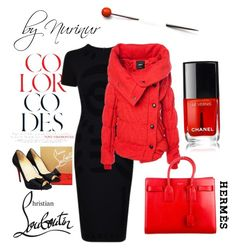 """""""Le Rouge infalible"""" by nurinur ❤ liked on Polyvore featuring Christian Louboutin, McQ by Alexander McQueen, Yves Saint Laurent and Hermès"""