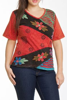 Rising Love Top in Red Multicolored Patch
