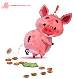Daily Paint #1183. Piggy Bank by Cryptid-Creations.deviantart.com on @DeviantArt