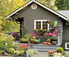 Container gardens add a welcoming feel and colorful appeal to any home exterior -- quickly and affordably: http://www.bhg.com/home-improvement/exteriors/curb-appeal/ways-to-add-curb-appeal/?socsrc=bhgpin052014instantgarden&page=6