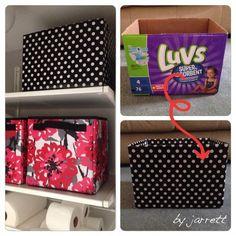 Turn an empty diaper box into a functional storage bin
