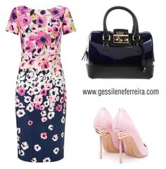 """""""dress floral"""" by gessilene-ferreira on Polyvore featuring moda, Adrianna Papell, Sophia Webster e Furla"""