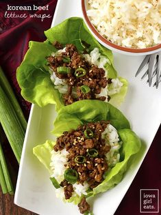 Korean Beef Lettuce Wraps are ready in just 15 minutes! This easy,gluten-free dinner recipe is made from kitchen staples and is completely craveable. | iowagirleats.com #KoreanFoodRecipes