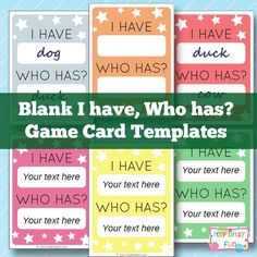 Free Printable I Have, Who Has? Template Game Cards - Learning Games for Kids