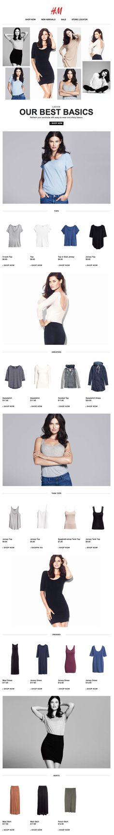 H&M newsletter, email design