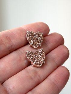druzy bronze stone heart earrings