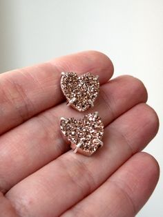 druzy bronze stone heart earrings