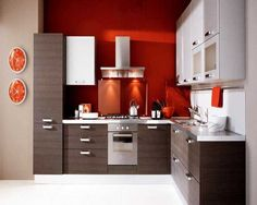 Küchen, Moderne Küchen L Form Mit Rot Wandfarbe Und Küche Weiß Arbeitsplatte Für…