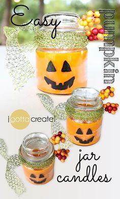 Simply adorable! DIY Jack-o-Lantern jar candles for Fall. #pumpkins #halloween #candles | Tutorial at I Gotta Create!
