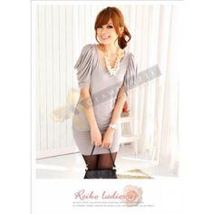 Matured Elegance Grey Dress with Slim-Effect Sleeves $59.90 at www.Glamorazzi.com.au