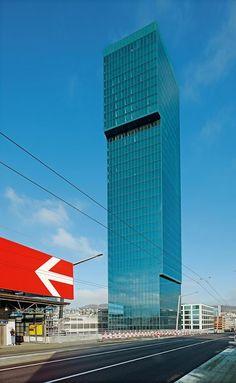 Prime Tower in Zurich by Gigon/Guyer Architekten . Gigon Guyer, Glass Curtain Wall, Tower Building, Facade Design, Skyscrapers, Modern Buildings, Zurich, Architecture, Towers