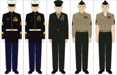 A selection of US Marine Corps uniforms: Us Marines Uniform, Marine Corps Uniforms, Air Force Uniforms, Us Marine Corps, Army Uniform, Army Ranks, Military Ranks, Military Insignia, Liberia