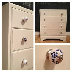Upcycled chest of drawers in Farrow and Ball off white with ceramic drawer knobs. Cream Bedroom Furniture, Door Furniture, Chalk Paint Furniture, Furniture Makeover, Furniture Ideas, Chest Of Drawers, Ceramic Door Knobs, Interior Design Inspiration, Houses