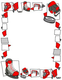 Page border with hockey graphics including goals, pucks, etc. Free downloads at http://pageborders.org/download/hockey-border/
